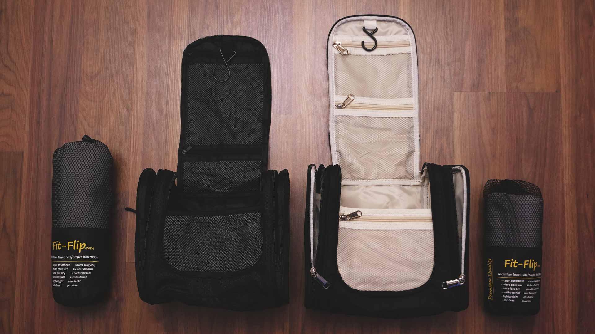 Backpacking Packliste Südostasien - Kulturtaschen zum Aufhängen und Mikrofaser-Handtücher