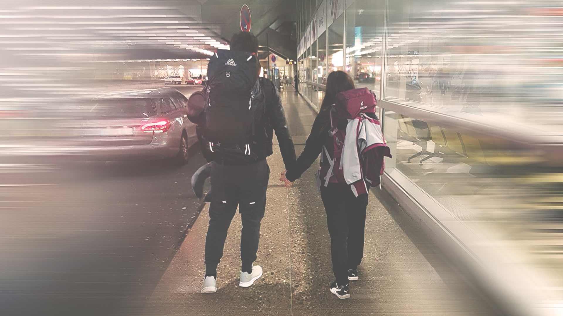 Backpacking Südostasien Reise - Abschied am Köln Flughafen - Jasmin und Valentin