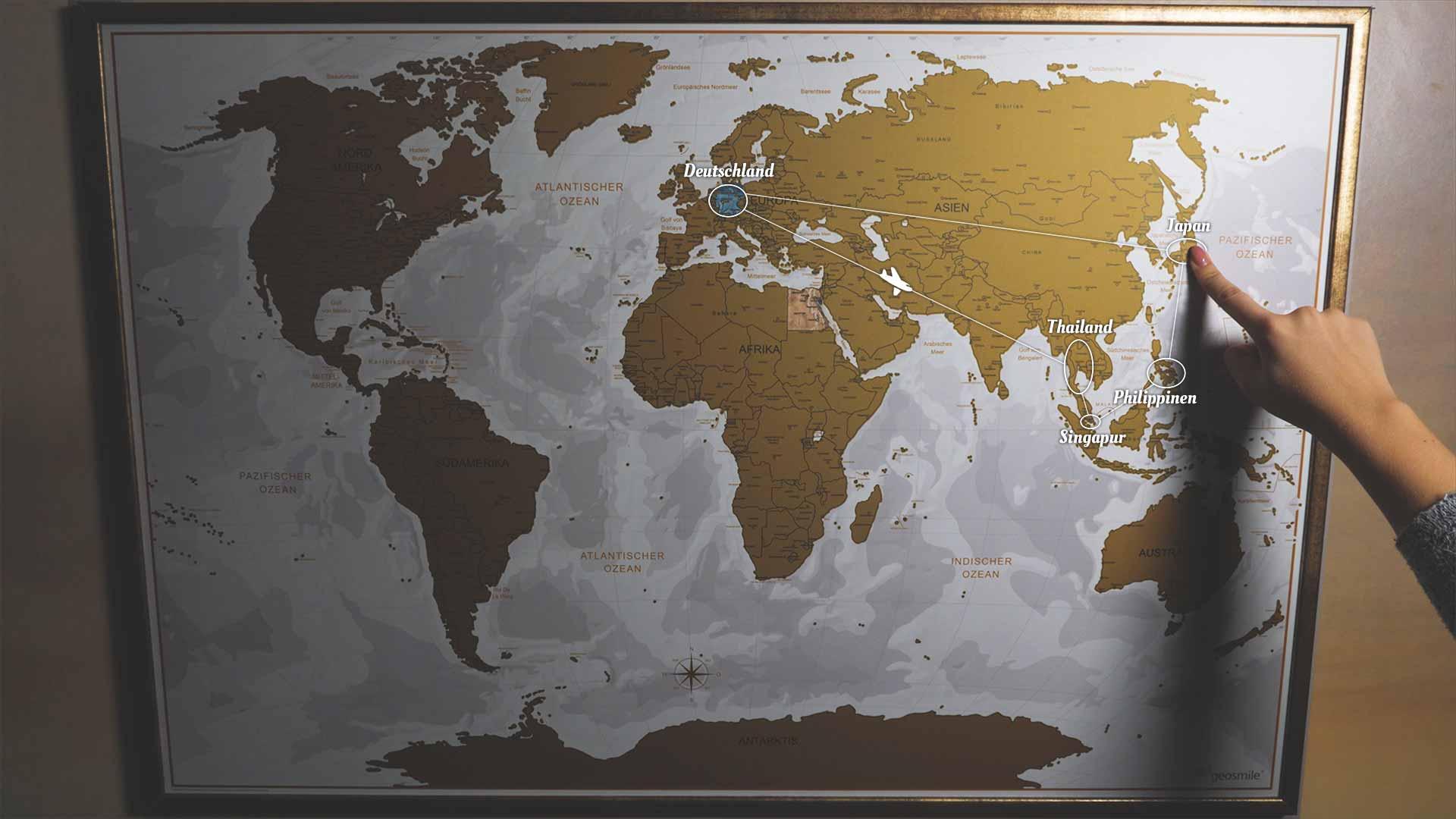 Backpacking Reiseroute durch Südostasien auf einer Karte
