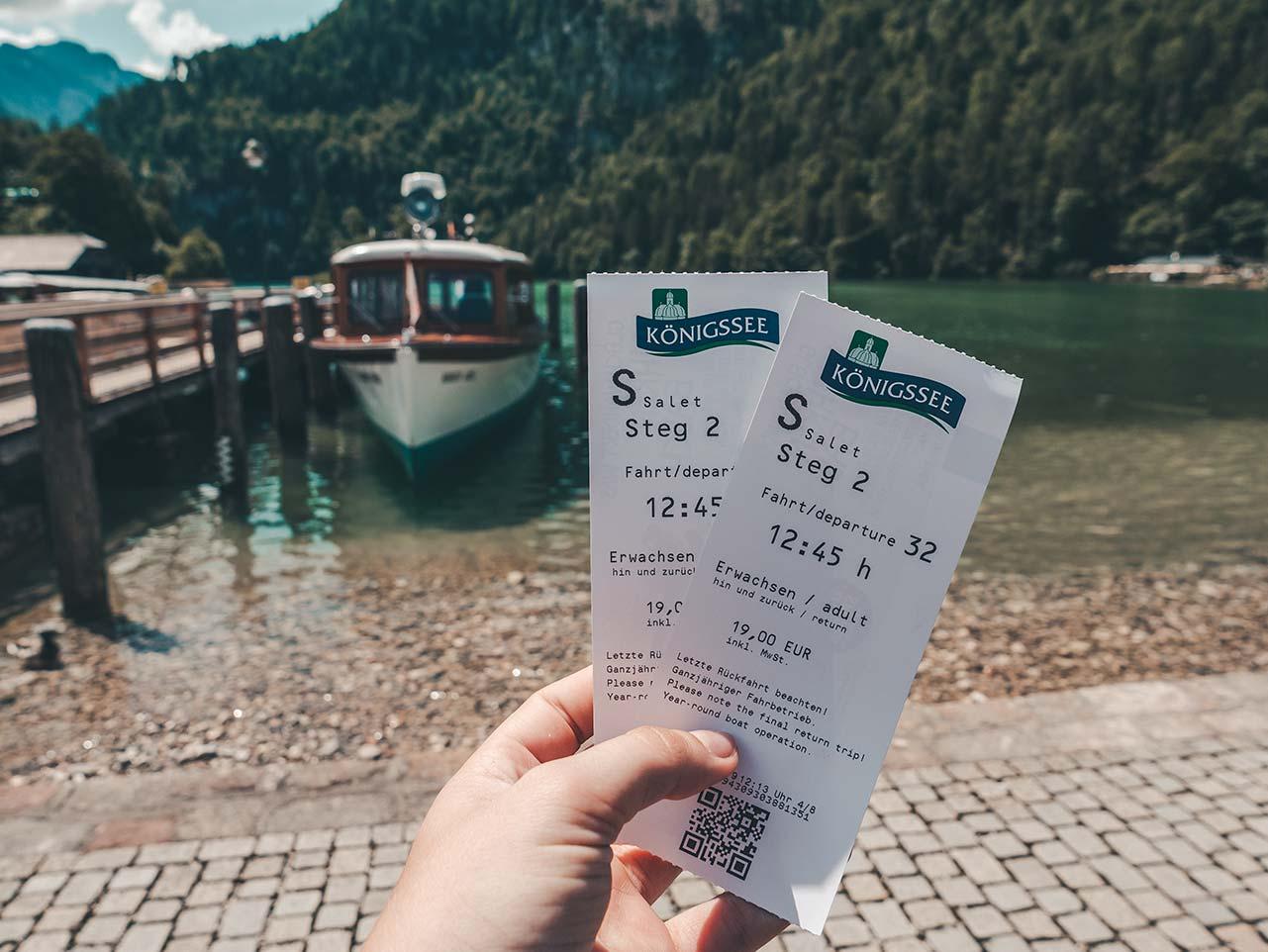 Tickets für die Fahrt vom Königssee nach Salet
