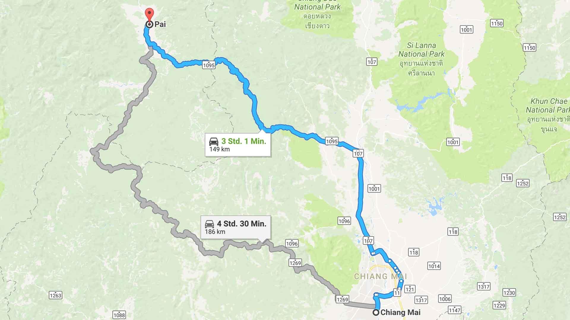 Von Chiang Mai nach Pai - Google Maps Ausschnitt