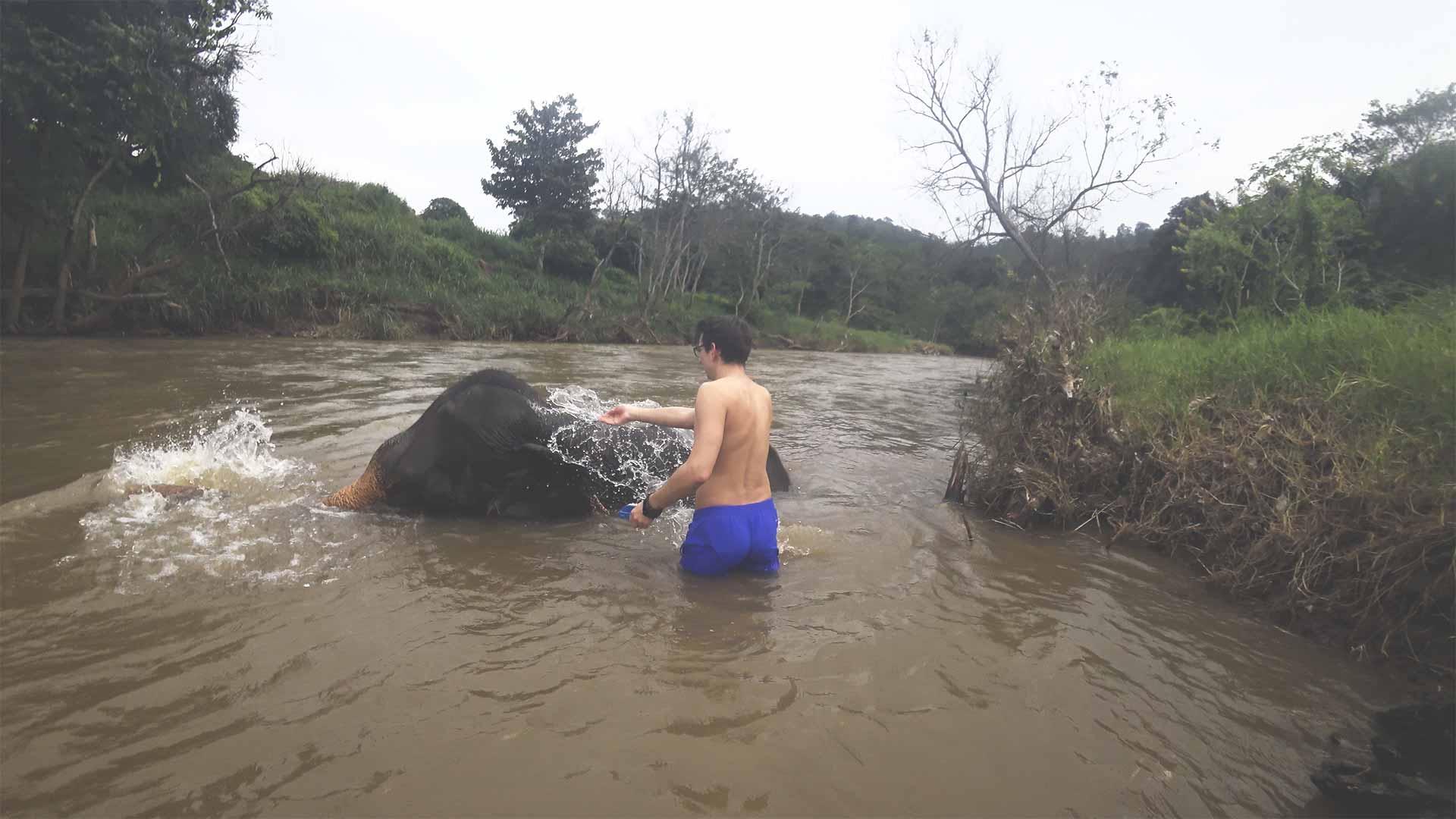 Elefantentour - Chiang Mai Mountain Sanctuary - Valentin im Fluss mit einem Elefanten - mit Elefanten baden und diese waschen