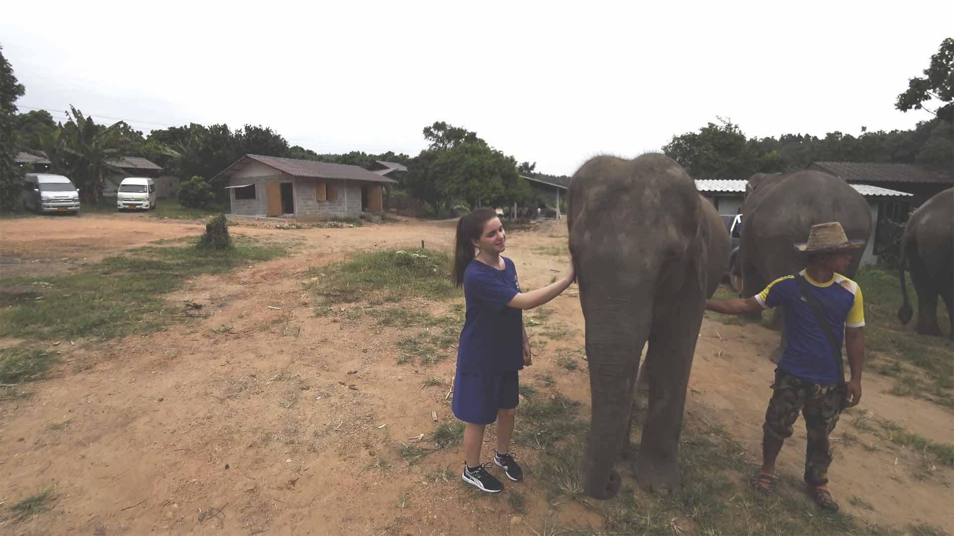 Elefantentour - Chiang Mai Mountain Sanctuary - Jasmin neben einem Baby-Elefanten