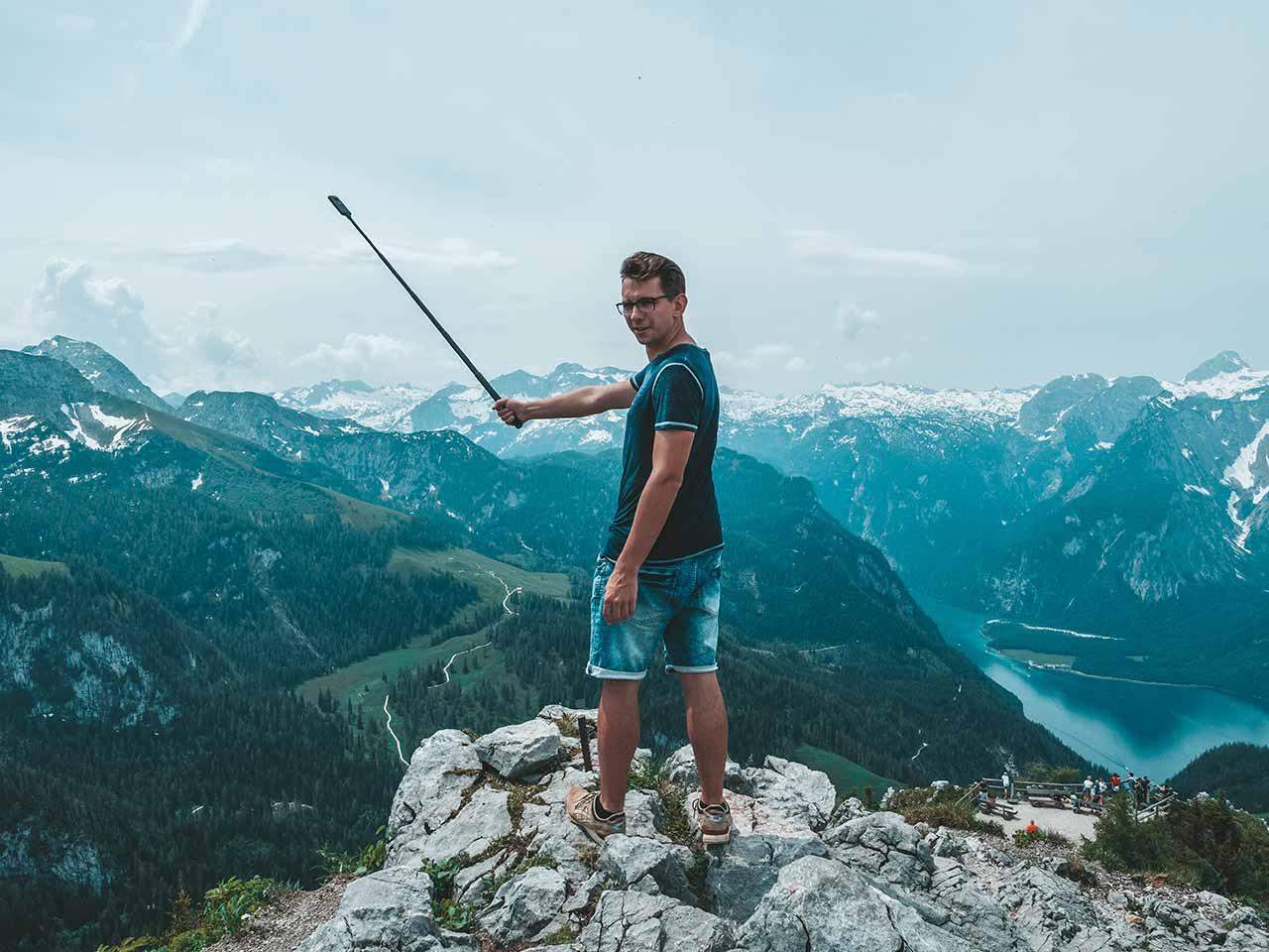 Jenner Gipfel mit Aussicht auf den Königssee - Valentin mit 360 Grad Kamera