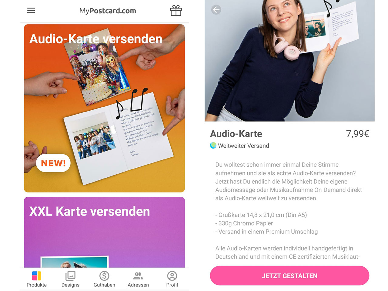 Erstellen einer Audio Postkarte mit der MyPostcard App