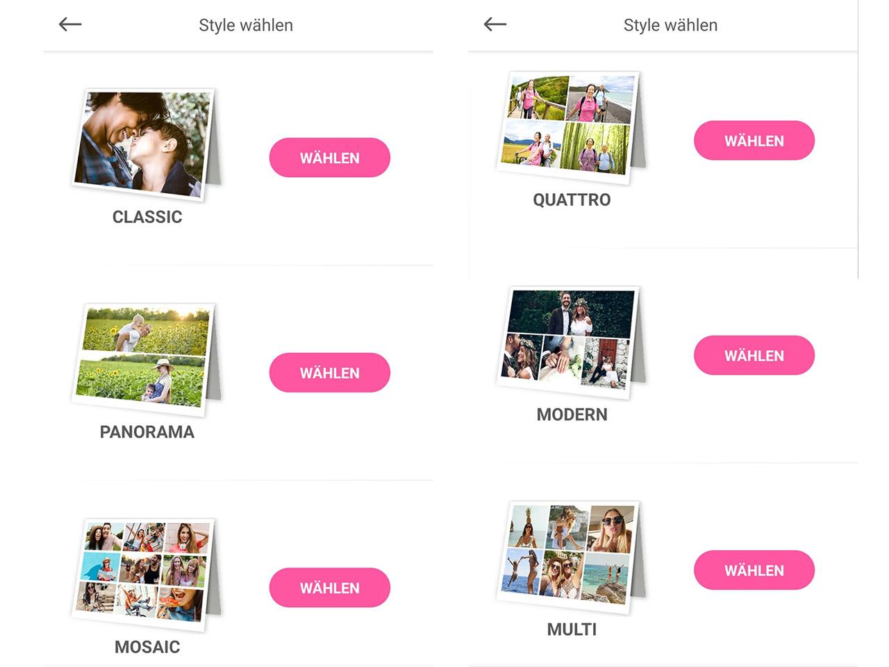Style wählen in der MyPostcard App