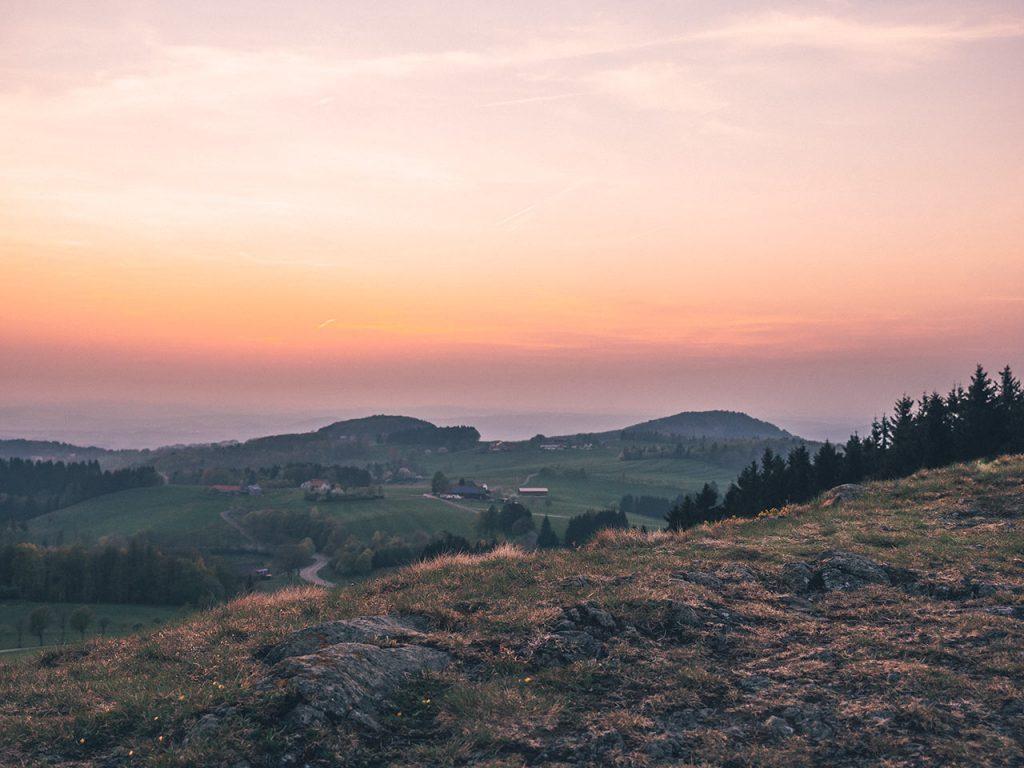 Aussicht vom Grabenhöfchen zum Sonnenuntergang