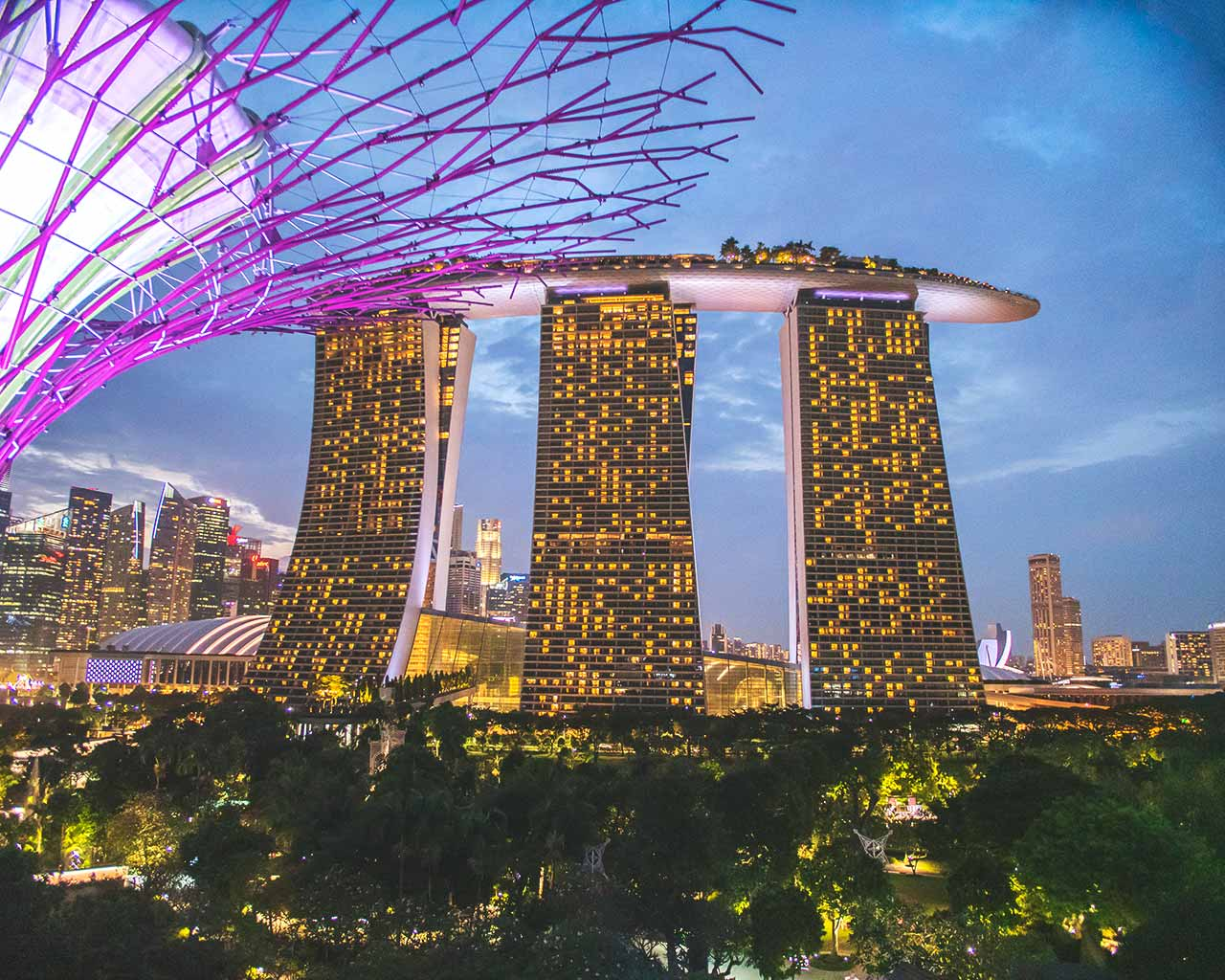 Marina Bay Sands Hotel - fotografiert vom Supertree